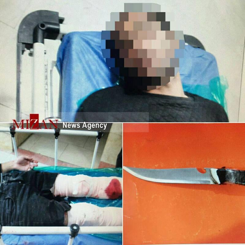 دستگیری اراذل چاقو به دست با شلیک پلیس +عکس