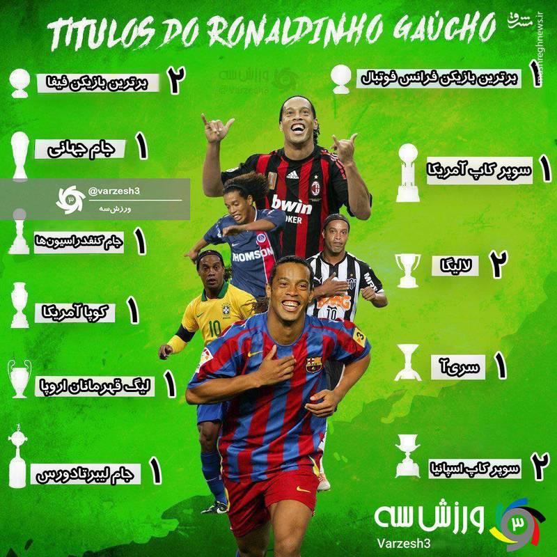عکس/ افتخارات رونالدینیو در تیم های مختلف