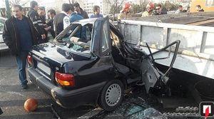 له شدن پراید بعد از تصادف با کامیونت