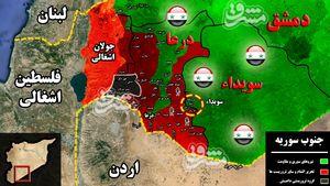 تلاش جبهه النصره برای فرار از شکستها در شمال سوریه/ حملات تروریستها برای نفوذ به شاهرگ حیاتی استان السویدا ناکام ماند + نقشه میدانی