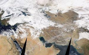 فیلم/ نمای ماهوارهای بارش سنگین برف در تهران