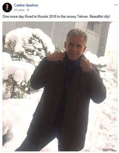عکس/ پست فیسبوکی کیروش در هوای برفی تهران