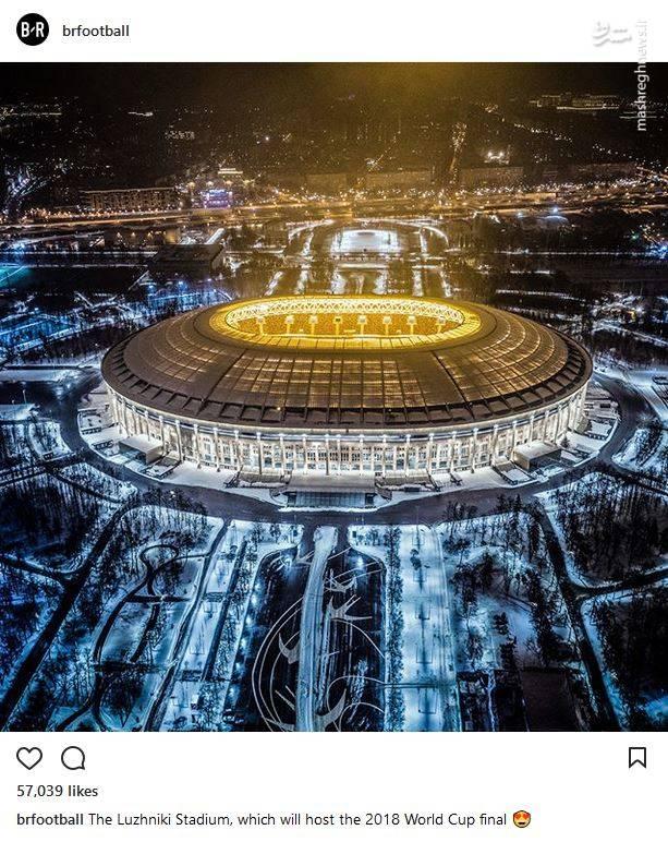 عکس/ استادیوم فینال جام جهانی 2018 در یک شب برفی