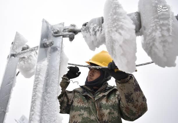 تلاش کارمندان اداره برق چین برای راه اندازی سیستم برقی منطقه (Songtao Miao)