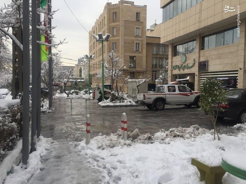 یخ زدگی پیادهروی اطراف یکی از ساختمان شهرداری