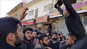 تظاهرات در ادلب علیه ارتش سوریه
