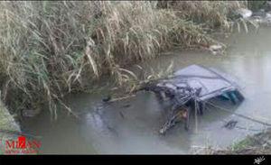 سقوط خودرو ۴۰۵ به داخل رودخانه