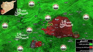 آخرین تحولات میدانی غوطه شرقی دمشق؛ درگیری های سنگین و پیشرویهای متر به متر در جنوب شهرک حرستا + نقشه میدانی