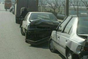 تصادف زنجیره ای 10 دستگاه خودرو در بزرگراه امام علی(ع) تهران