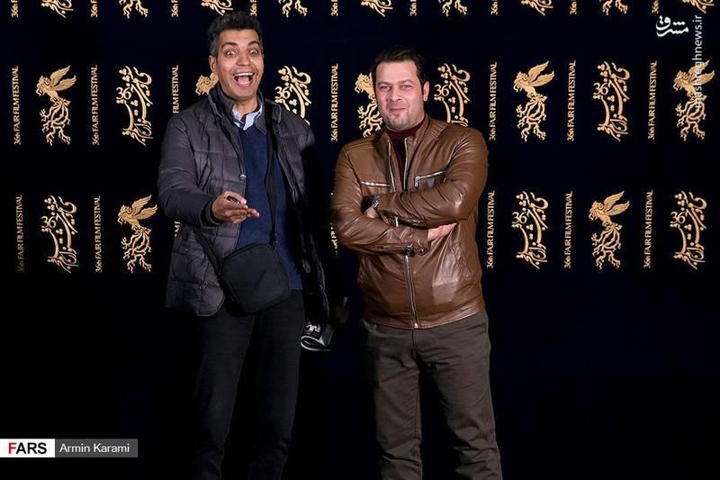 عادل فردوسی پور به همراه پژمان بازغی در جشنواره فیلم فجر حضور داشت