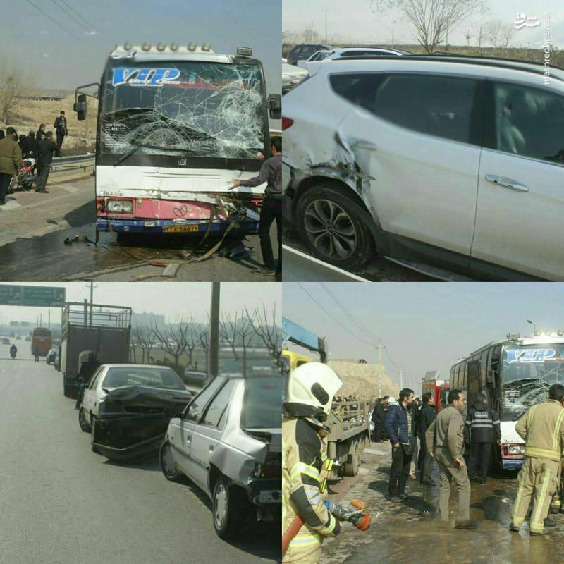 تصاویری از تصادف زنجیره ای 10خودرو در تهران