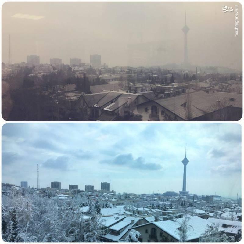 روز برفی و روز آلوده تهران