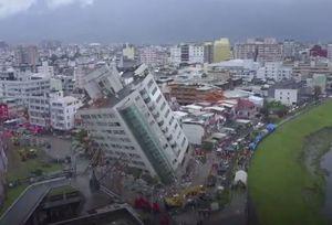 فیلم/ هتل کج شده براثر زلزله در تایوان