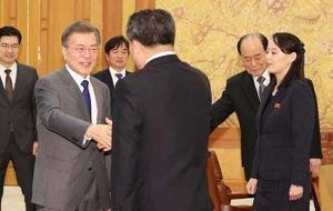عکس/ دیدار خواهر«کیم جونگ اون» با رئیس جمهور کره جنوبی