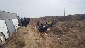 واژگونی اتوبوس در جاده شیراز - سروستان