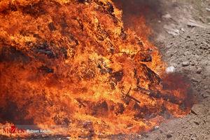 فرار قاچاقچیان پس از آتش زدن نیم تن تریاک