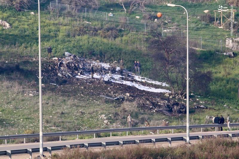 لاشه اف ۱۶ ساقط شده اسراییلی در جولان اشغالی