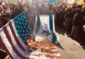 عکس/ آتش زدن پرچم آمریکا و اسرائیل