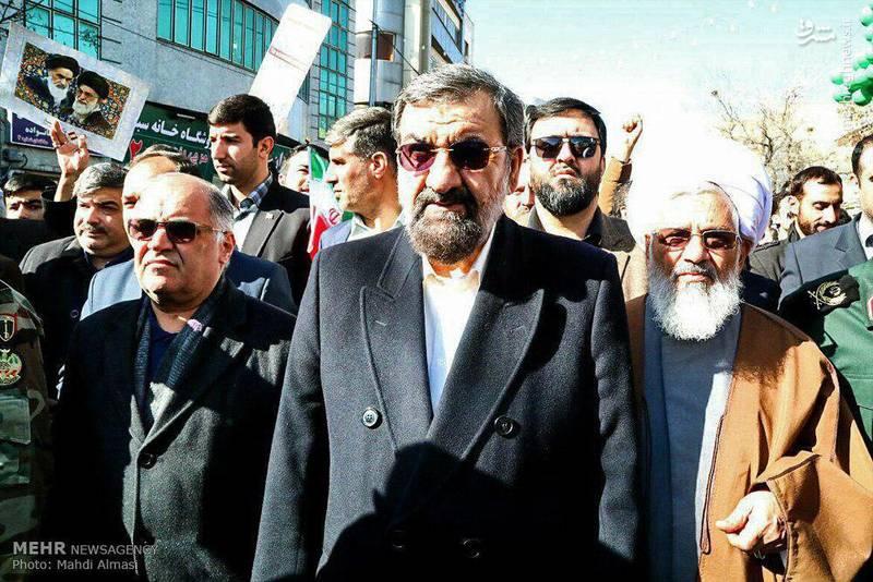 محسن رضایی دبیر مجمع تشخیص مصلحت نظام در راهپیمایی 22 بهمن