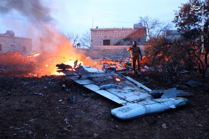 سقوط جنگنده روسی در ادلب سوریه