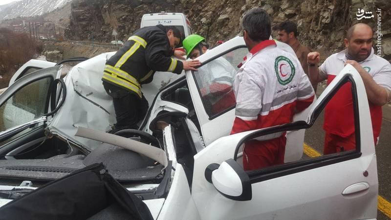 یک کشته براثر ریزش کوه در فشم بر روی خودرو ال 90