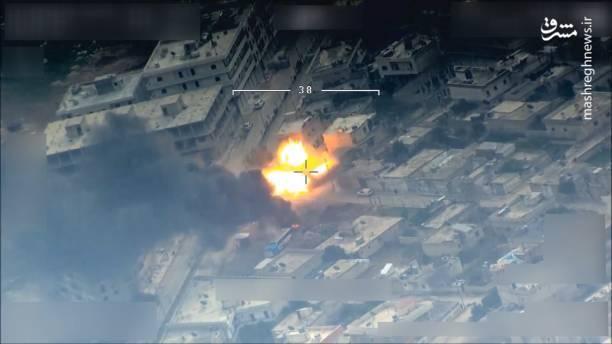 منهدم شدن مقر فرماندهی کُردهای سوریه پس از شناسایی توسط پهپاد ارتش ترکیه