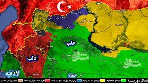 ترکیه در آستانه ساخت پایگاههای نظامی در حلب و ادلب/ ادامه شکار فرماندهان ارشد گروههای تروریستی توسط افراد ناشناس در شمال سوریه + نقشه میدانی