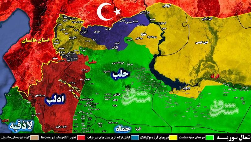 ترکیه در آستانه ساخت پایگاه های نظامی در حلب و ادلب/ ادامه شکار فرماندهان ارشد گروه های تروریستی توسط افراد ناشناس در شمال سوریه + نقشه میدانی