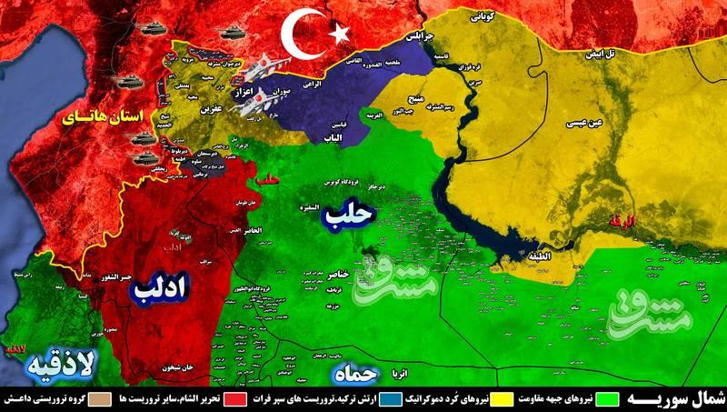 تحولات میدانی شمال استان حلب به روایت آمار: تلفات شبه نظامیان کُرد و ارتش ترکیه ۳۵ روز پس از شروع درگیری ها در عفرین  + نقشه میدانی و تصاویر