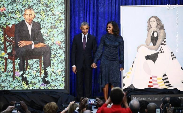 رئیسجمهور پیشین آمریکا و همسرش در گالری پرتره ملی در واشینگتن