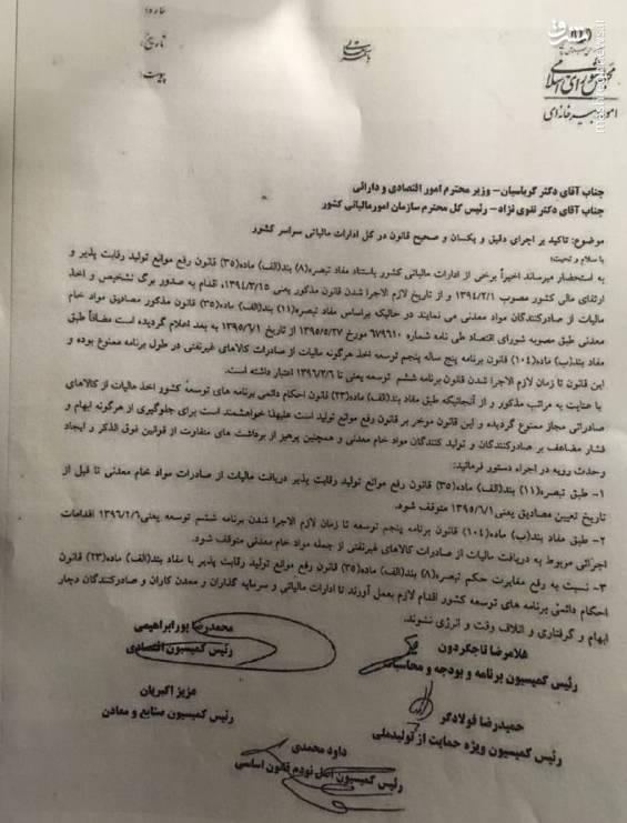 متن نامه روسای ۵ کمیسیون مجلس به وزیر اقتصاد