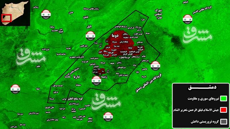 پایان انتظارها برای پاکسازی غده سرطانی دمشق پس از ۶ سال/ ببرهای سوریه برای تنظیم ضربان قلب پایتخت سوریه وارد غوطه شرقی شدند +نقشه میدانی و تصاویر