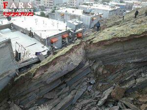خسارات ریزش کوه در مسجدسلیمان