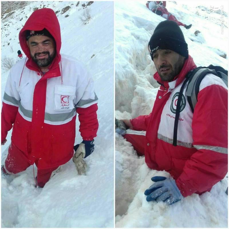 میزان ارتفاع برف در دنا و حضور تیم امداد کوهستان لردگان در منطقه پادنا محل سقوط هواپیما