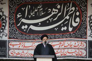 عکس/ سخنرانی رییسی در مراسم عزاداری فاطمیه در میدان هفت تیر تهران