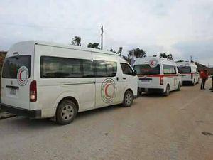 توافق انتقال همزمان بیماران از شهرکهای الفوعه و کفریا و عناصر تروریستی جبهه النصره در جنوب دمشق اجرا شد + جزئیات و تصاویر