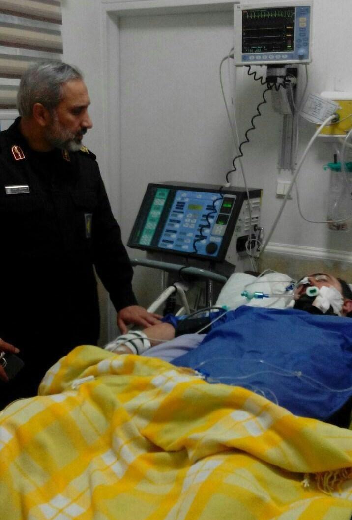 عیادت فرمانده سپاه تهران از مجروح حادثه خیابان پاسداران+ عکس