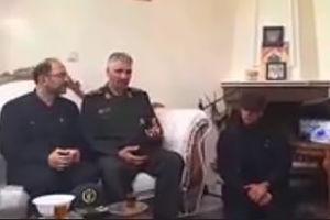 فیلم/ دیدار سردار فضلی با خانواده شهید حدادیان
