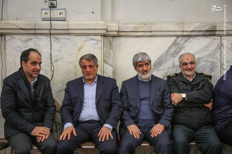 علی مطهری و محسن هاشمی در مراسم ختم شهدای حافظ امنیت ناجا