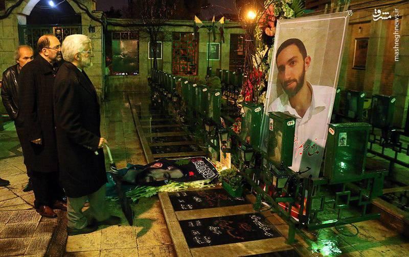 عکس/ حضور جلیلی بر سر مزار شهید حدادیان