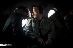 فرمانده سپاه در هلیکوپتر