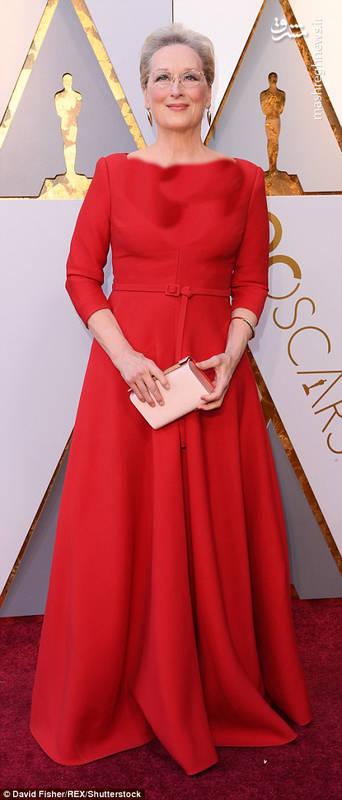 """مریل استریپ"""" بازیگر سرشناس هالیود در مراسم فرش قرمز مراسم اسکار 2018"""