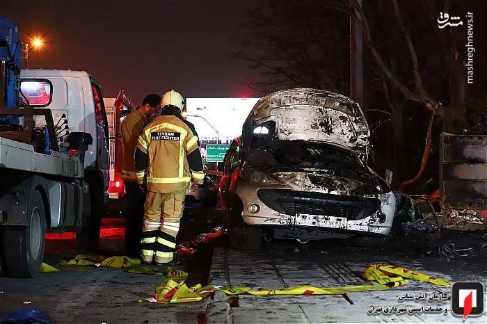 پس از تائید مرگ این دو سرنشین توسط عوامل اورژانس، اجساد آنان از میان اتاقک سوخته خودرو سواری بیرون آورده و تحویل عوامل انتظامی داده شد.