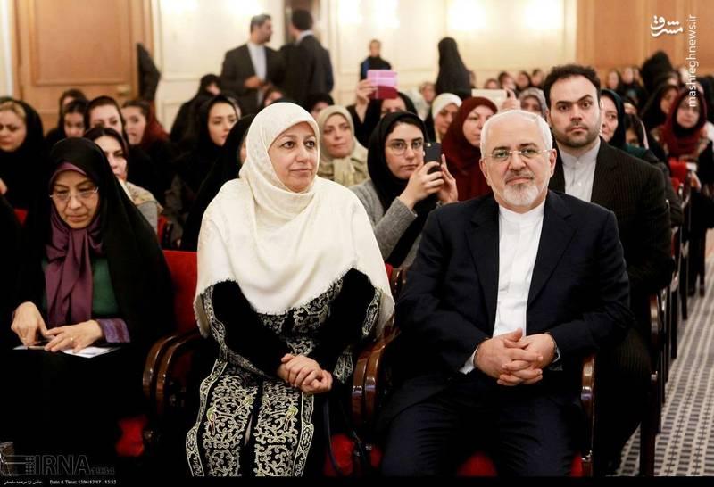 محمدجواد ظریف و همسرش در نشست بین المللی زنان،صلح و امنیت پایدار