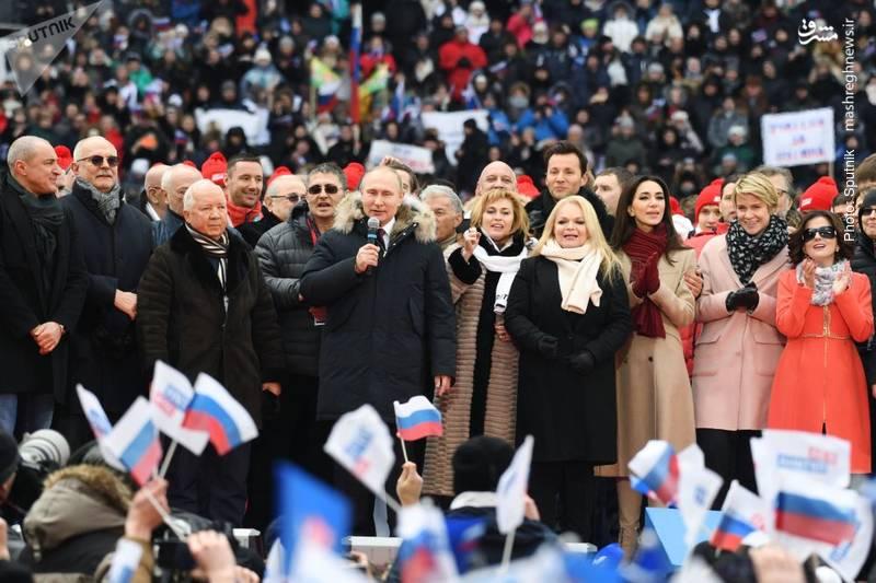 میتینگ انتخاباتی پوتین در استادیوم لوژنیکی با شعار «روسیه قدرتمند»