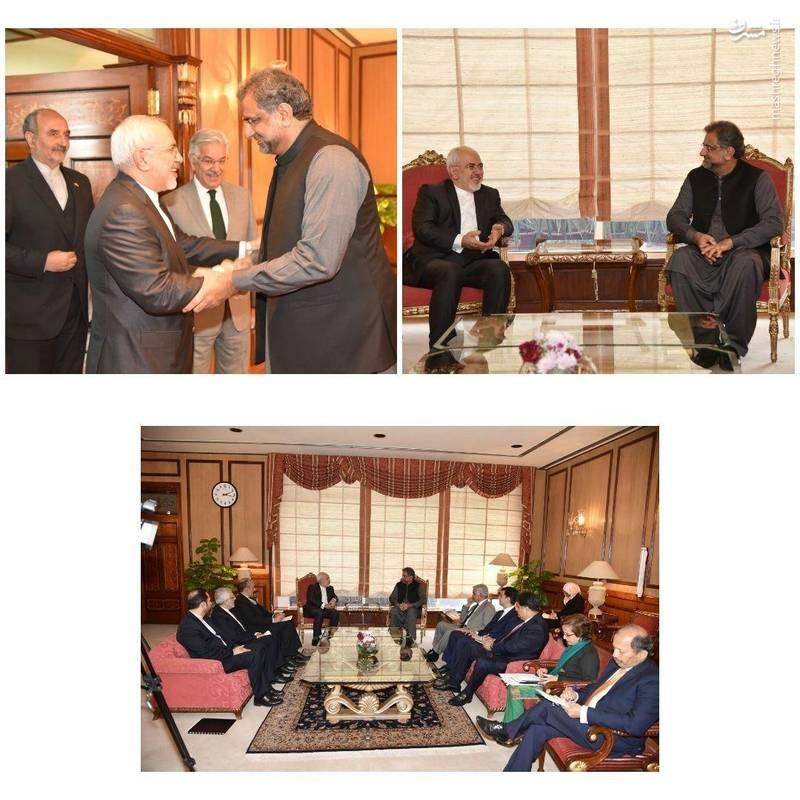 دیدار و گفتگو وزیر امور خارجه جمهوری اسلامی ایران با شاهد خاقان عباسی نخست وزیر پاکستان