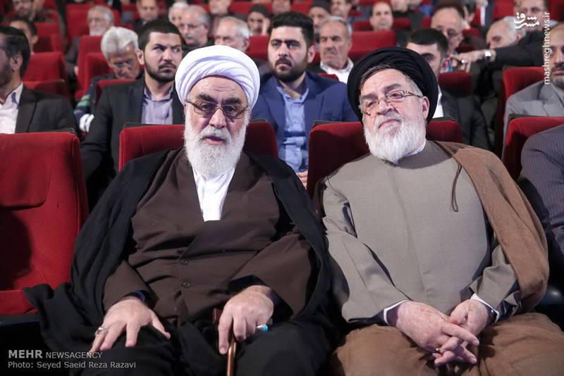 آیت الله محمدی گلپایگانی(رئیس دفتر مقام معظم رهبری)-حجت الاسلام و المسلین شهیدی(رئیس بنیاد شهید)