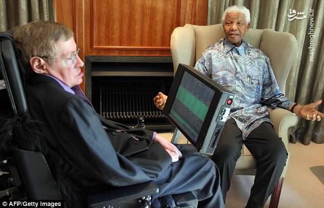 دیدار هاوکینگ با نلسون ماندلا