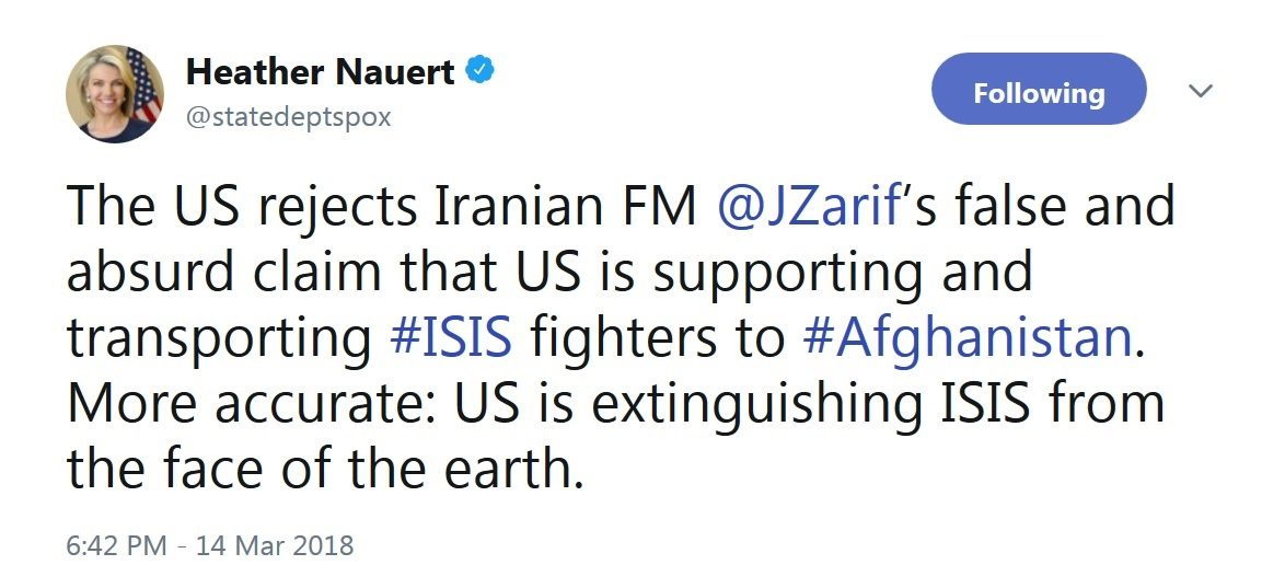 واشنگتن به اظهارات ظریف درباره حمایت آمریکا از داعش واکنش نشان داد