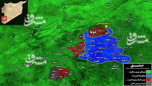 آخرین تحولات میدانی غوطه شرقی دمشق/پایتخت سوریه با آرامش کامل چقدر فاصله دارد؟ + تصاویر و نقشه میدانی